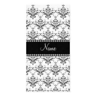 Personalized name White damask Photo Greeting Card