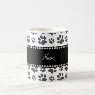 Personalized name white dog paw print mugs