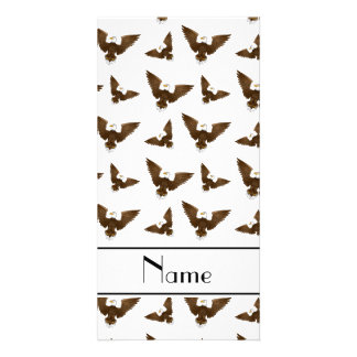 Personalized name white eagles photo card