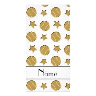Personalized name white gold baseballs stars photo card