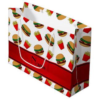 Personalized name white hamburgers fries large gift bag