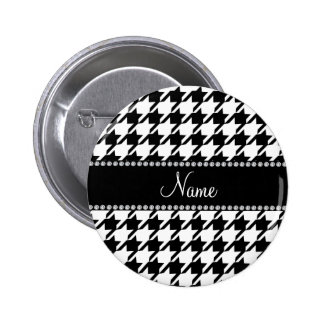 Personalized name white houndstooth 2 inch round button