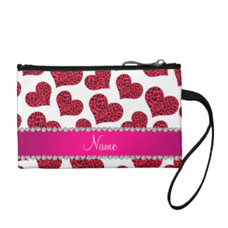 Personalized name white leopard hearts coin purse