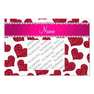 Personalized name white leopard hearts photograph