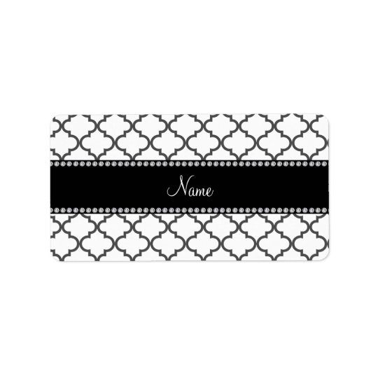 Personalized name White moroccan Label