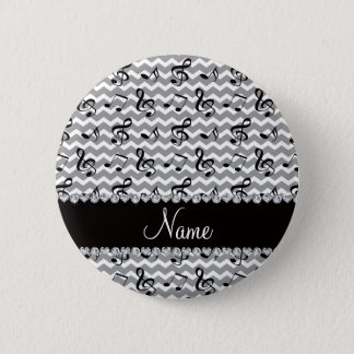 Personalized name white music notes chevrons 2 inch round button