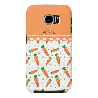 Personalized name white orange carrots samsung galaxy s6 case