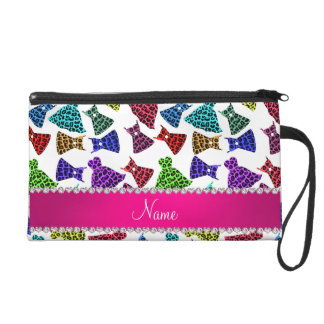 Personalized name white rainbow leopard dresses wristlet purse