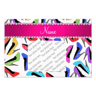 Personalized name white rainbow leopard high heels photo print