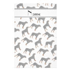 Personalized name white rottweiler dog pattern stationery