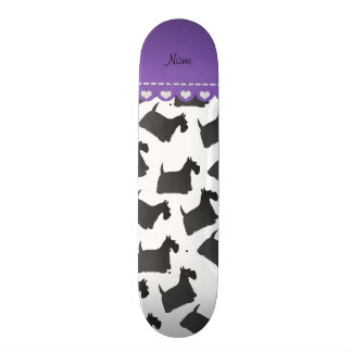 Personalized name white scottish terrier dogs skateboard deck