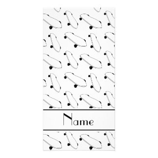 Personalized name white skateboard pattern photo card