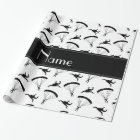 Personalized name white skydiving pattern wrapping paper
