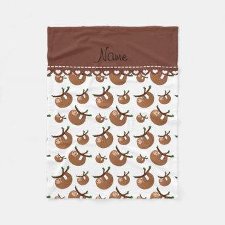 Personalized name white sloth pattern fleece blanket