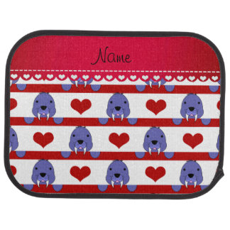 Personalized name white walrus red hearts stripes car liners