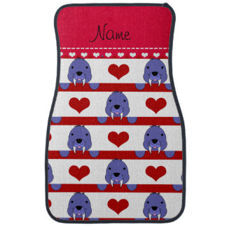 Personalized name white walrus red hearts stripes floor mat