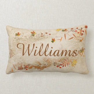 personalized name with autumn with leaves lumbar pillow