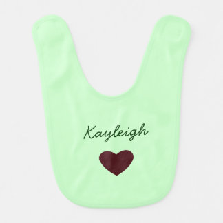 Personalized Name with Heart Baby Bib