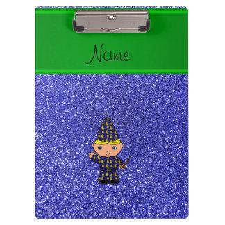 Personalized name wizard neon blue glitter clipboard