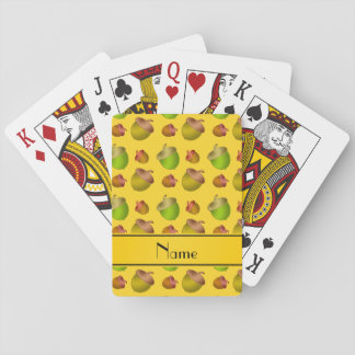 Personalized name yellow acorns playing cards