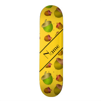 Personalized name yellow acorns skateboard deck