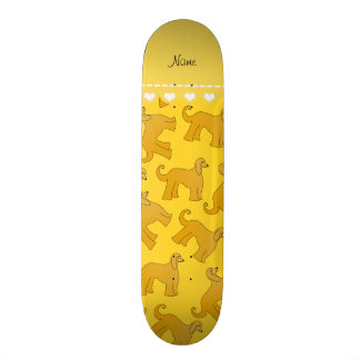 Personalized name yellow afghan hound dogs skate boards