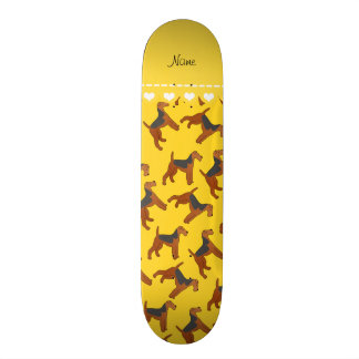 Personalized name yellow airedale terriers dogs skate boards