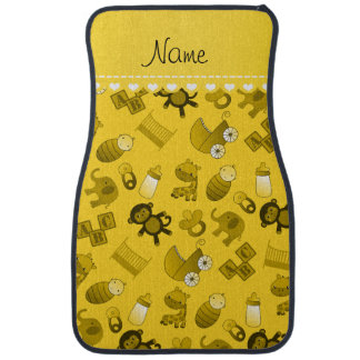 Personalized name yellow baby animals auto mat