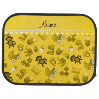 Personalized name yellow baby animals car mat