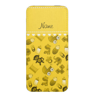 Personalized name yellow baby animals iPhone pouch