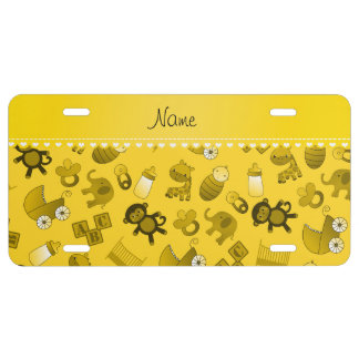 Personalized name yellow baby animals license plate