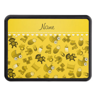 Personalized name yellow baby animals trailer hitch cover