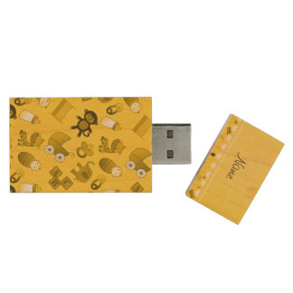 Personalized name yellow baby animals wood USB 2.0 flash drive
