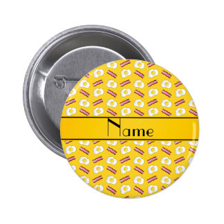 Personalized name yellow bacon eggs buttons