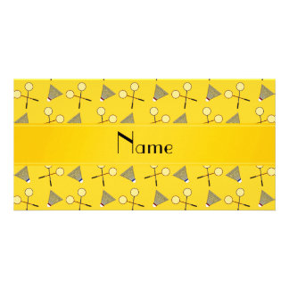 Personalized name yellow badminton pattern personalized photo card
