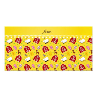 Personalized name yellow barn animals photo card