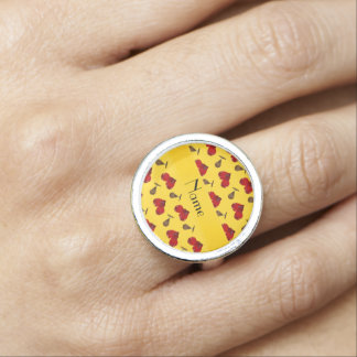 Personalized name yellow boxing pattern photo ring
