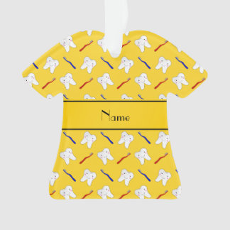 Personalized name yellow brushes and tooth pattern
