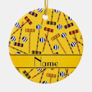 Personalized name yellow croquet pattern round ceramic ornament