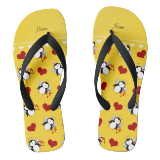 Personalized name yellow cupid penguins red hearts flip flops
