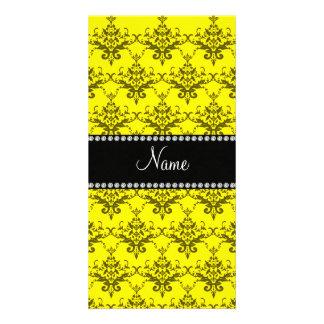 Personalized name Yellow damask Photo Card