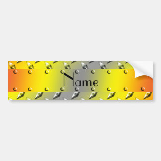 Personalized name yellow diamond plate steel bumper sticker