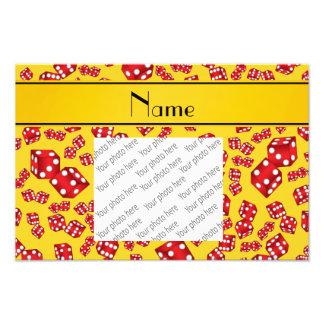 Personalized name yellow dice pattern photo print