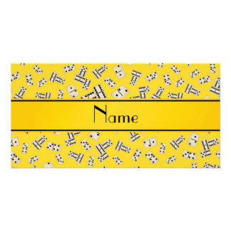 Personalized name yellow dominos personalized photo card