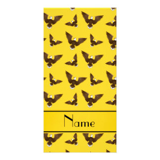 Personalized name yellow eagles photo card