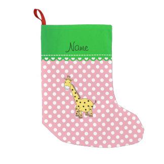 Personalized name yellow giraffe pink polka dots small christmas stocking
