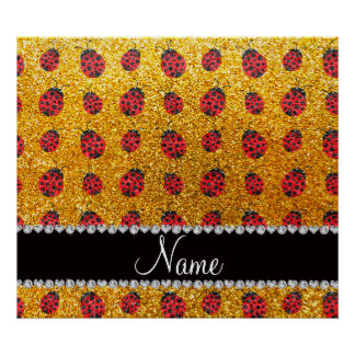 Personalized name yellow glitter ladybug poster