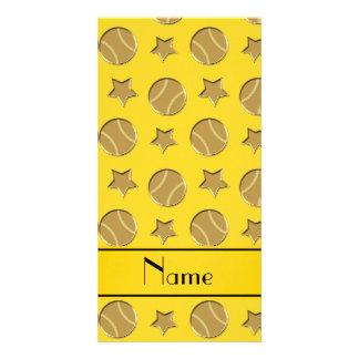 Personalized name yellow gold baseballs stars photo card