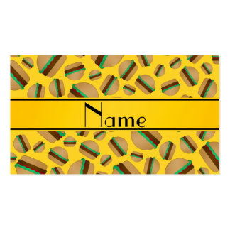 Personalized name yellow hamburger pattern business card templates