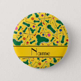 Personalized name yellow mini golf 2 inch round button